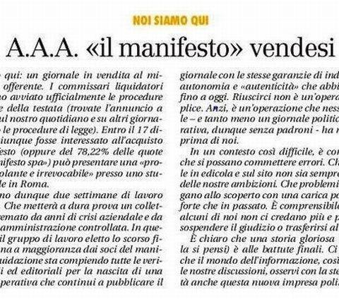 AAA Il Manifesto Vendesi